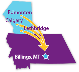 Map of Proximity of Canadian cities to Billings, MT
