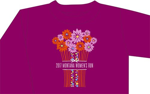 Women's run t-shirt - berry colored with flowers