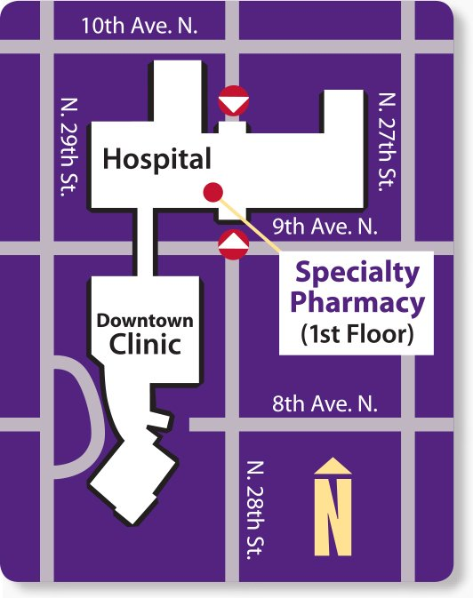 Map of entrance to specialty pharmacy