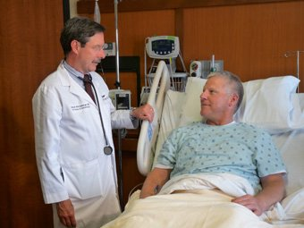 Dr. Whittenberger and patient in Inpatient Cancer Center