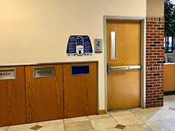 Our Unused Medication Disposal is located in the wall near the Atrium Pharmacy, across from Deaconess Chapel.