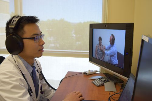 Providers and patient giving care via telemedicine