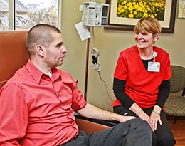 Billings Clinic Cody Cancer Program Linda Allen with an infusion patient